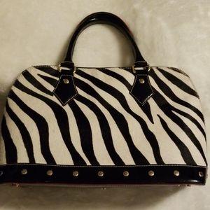 Arcadia Black Italian Patent Leather & Zebra Print